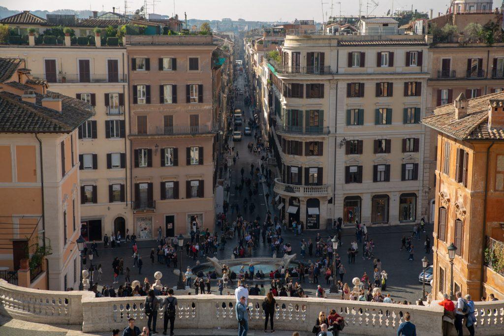 Udsigt fra den spanske trappe i Rom